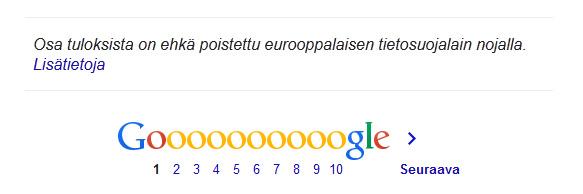 Näin google ilmoittaa hakutulosten poistosta.